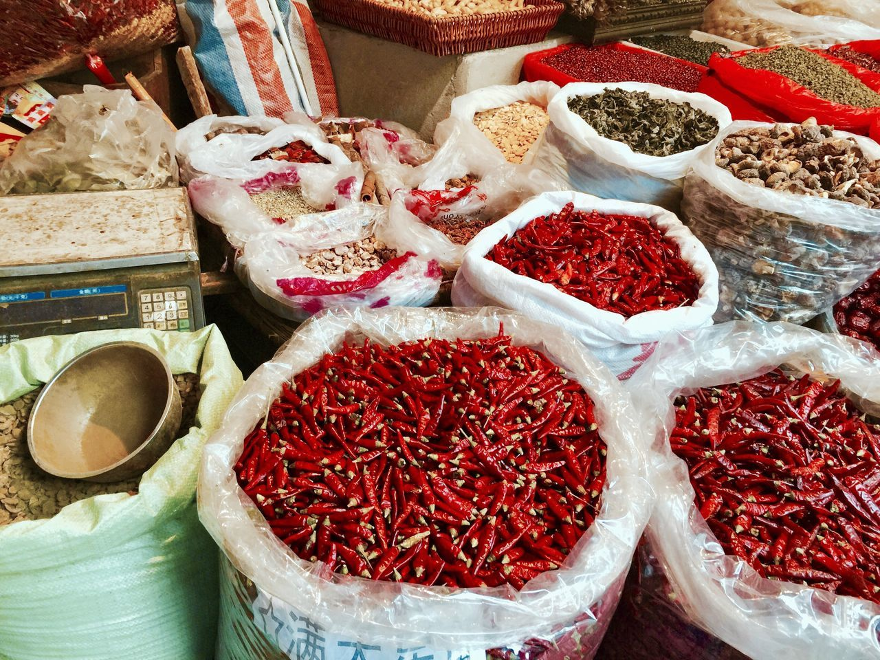 Food Variation High Angle View For Sale Large Group Of Objects No People Market Stall Freshness Red Chili Pepper Dried Fruit Market Outdoors Close-up Day Chilies Asian  Market Marketplace Spices Chinese Food China Photos EyeEmNewHere