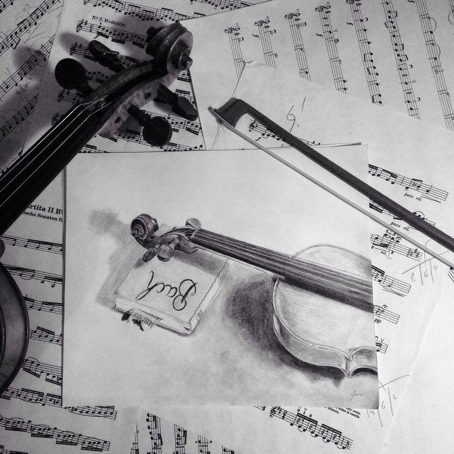Violin Violon Musique BACH MyArt Dessin Artist Art Black And White BACH Drawing
