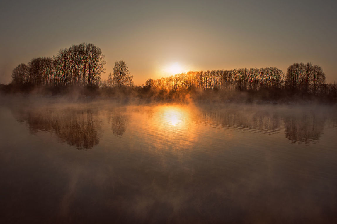 Day Fog Lake Landscape Nature No People Outdoors Reflection Sky Sunset Tranquility Tree Water