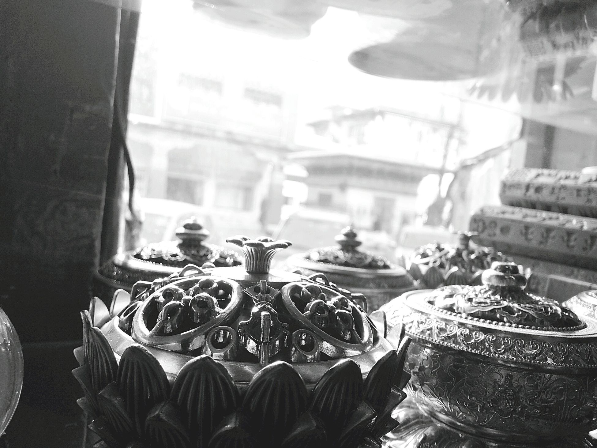 It's all in the perspective. Indoors  No People Day Bhutan Landofhappiness Handicraft Blackandwhite