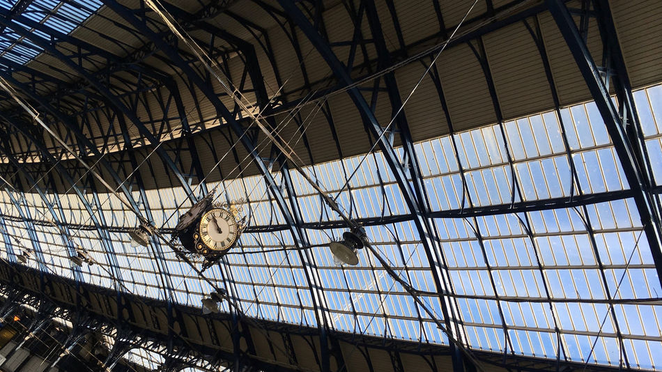 Swinging Clock Brighton Station  Ceiling Clock Glass Ceiling Low Angle View Victorian Architecture