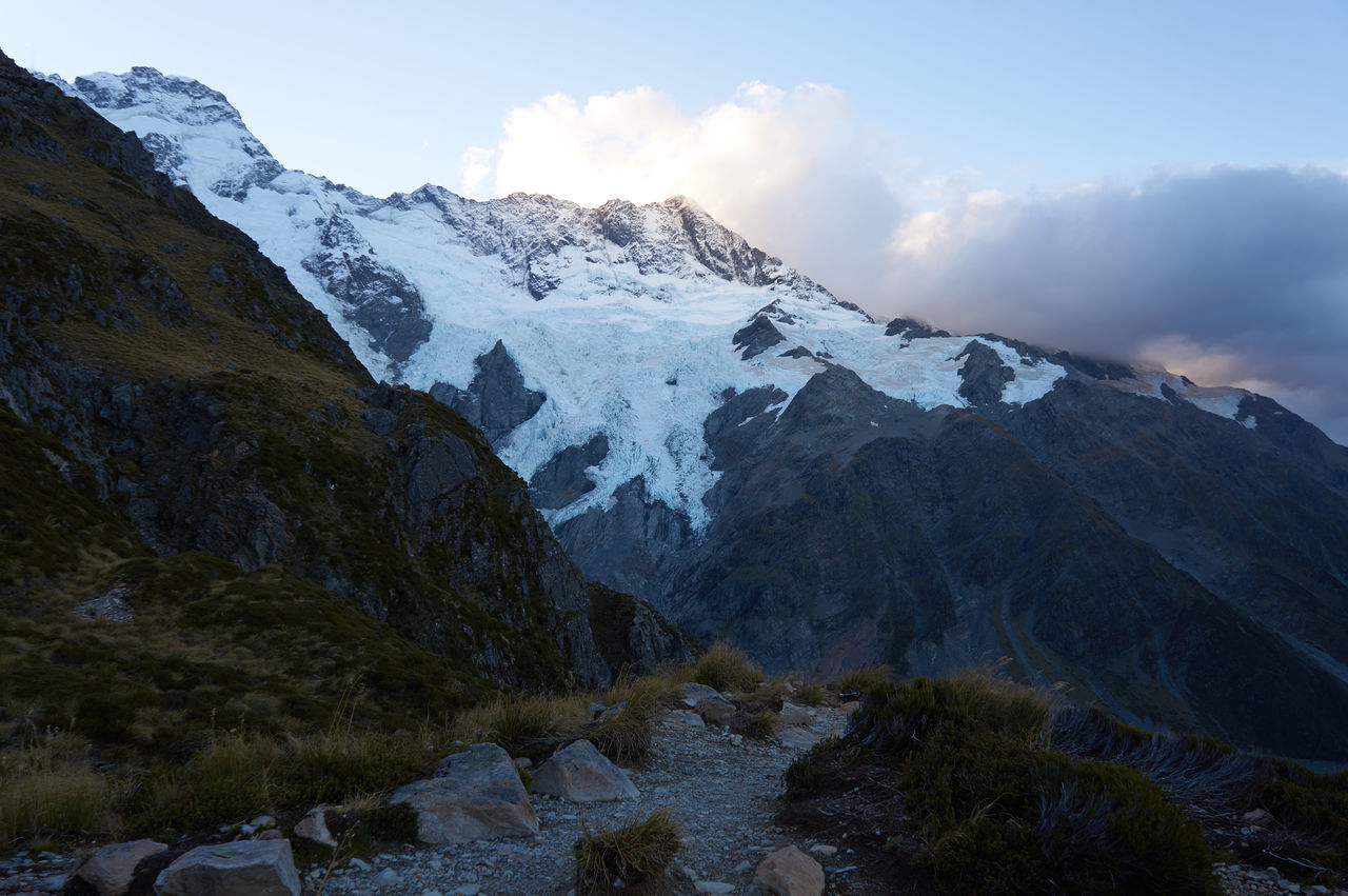 Mt Cook / Canterbury / South Island / New Zealand Beauty In Nature Cloud - Sky Cold Temperature Day Landscape Mountain Mountain Peak Mountain Range Nature No People Outdoors Scenics Sky Snow Snowcapped Mountain Tree Winter