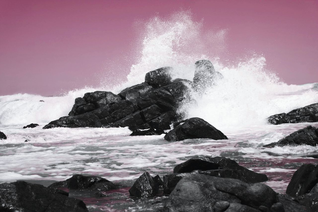 power in nature, motion, breaking, sea, wave, crash, hitting, outdoors, force, no people, water, beauty in nature, day, nature, clear sky, sky
