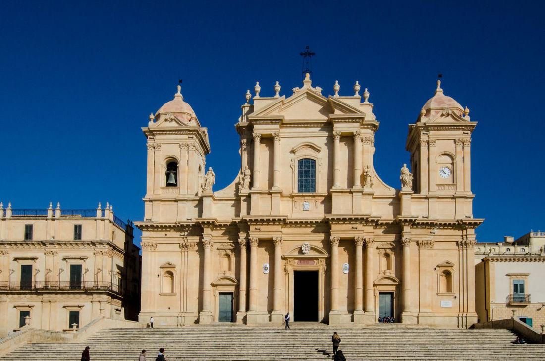 Architecture Baroque Blue Building Exterior Built Structure Church City Clear Sky Façade Italia Italy Noto Outdoors Religion Sicilia Sicily Sky Travel Destinations