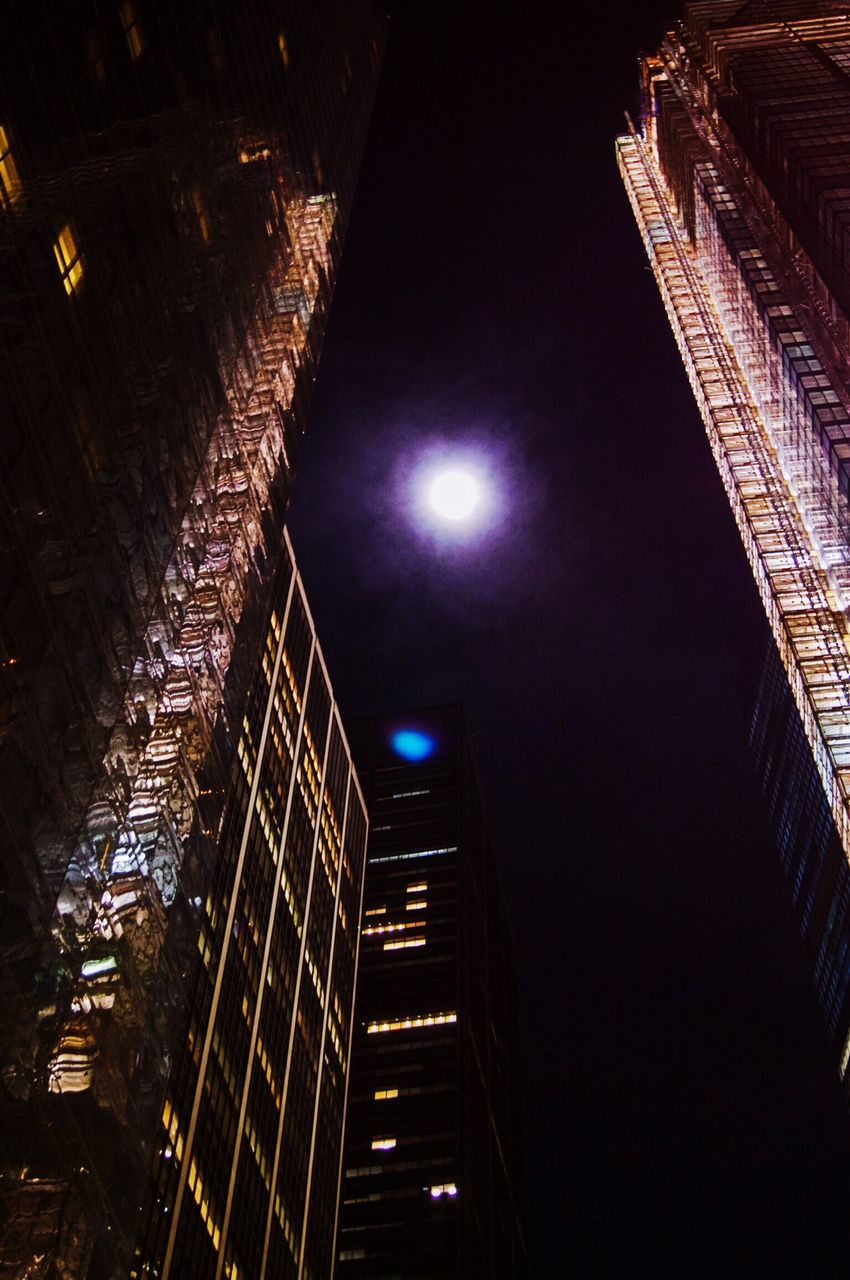 illuminated, night, architecture, built structure, low angle view, city, no people, outdoors