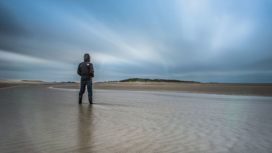 Beach Coast Copy Space Escapism Filter Getting Away From It All Horizon Over Water LINE Lonelyness Long Exposure Me Outdoors Remote Sand Sea Selfportrait Selfy Shore The Netherlands Tide Vacations Water Weekend Activities Zeeland  Zwin