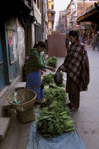 Two women selling fresh vegetables on the roadside in Thamel Kathmandu Nepal (before the earthquake). Adult Architecture ASIA Distribution Female Food Kathmandu Kathmandu, Nepal Market Market Stall Nepal Nepalese Nepali  Outdoors People Poverty Pre Earthquake Street Scene Street Scenes Thamel Veg Vegetables Vendors Women