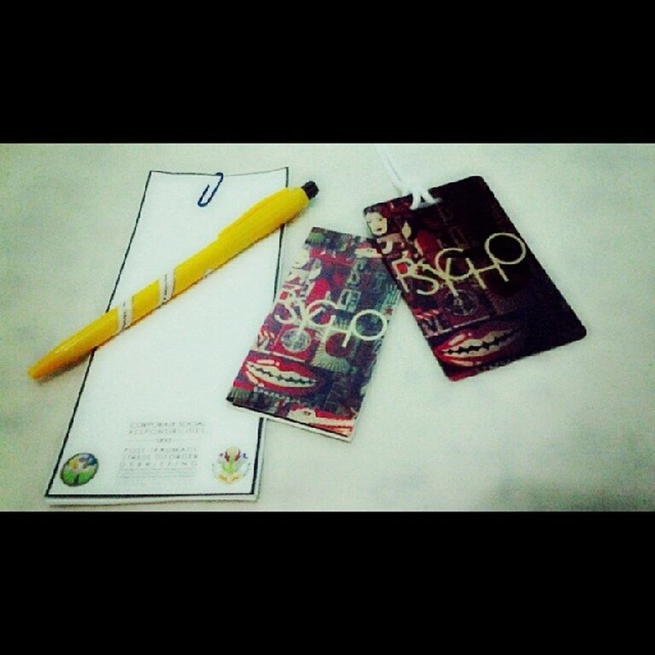 Corporate Social Responsibilities and Post-Traumatic Stress Debriefing Seminar give aways! :D Magneticbookmark BagTag Psycho ♥♥♥♥♥♥♥♥