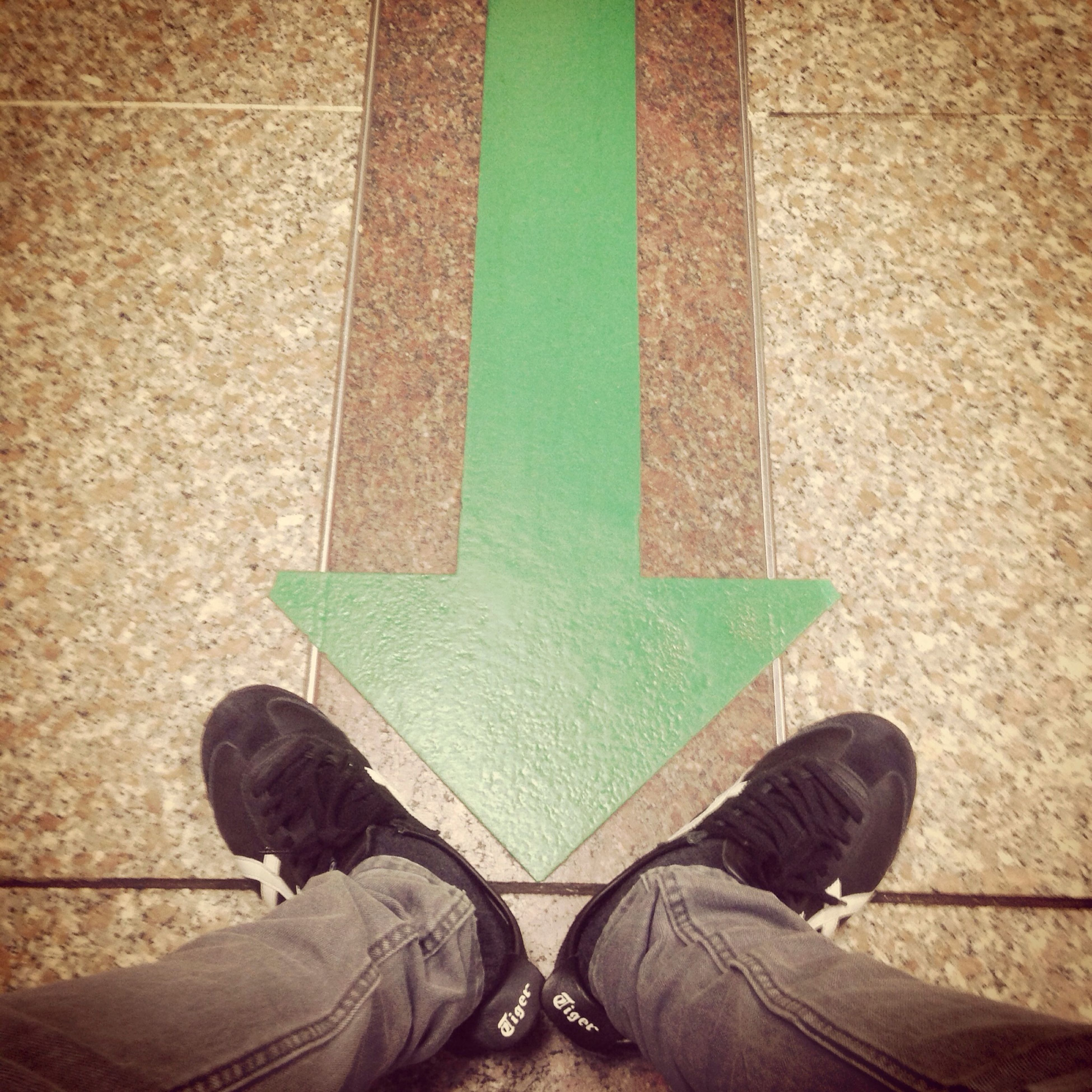 low section, shoe, person, lifestyles, personal perspective, high angle view, standing, leaf, built structure, leisure activity, green color, men, architecture, day, wall - building feature, pattern, outdoors