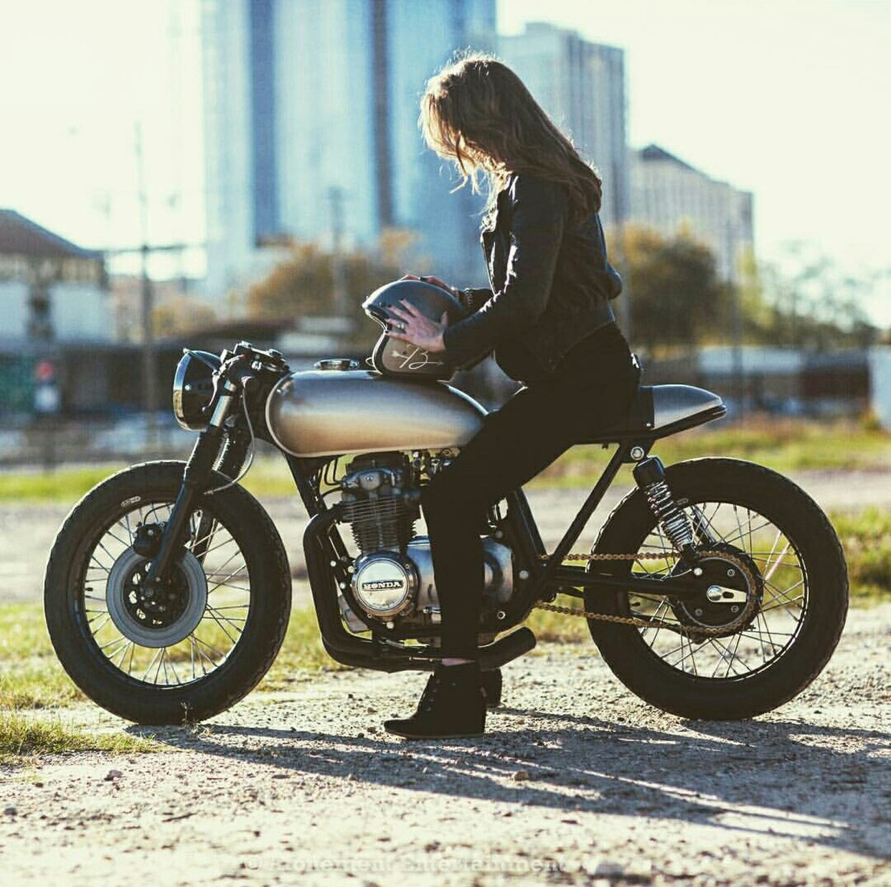 One Person Transportation Only Women Adults Only One Woman Only Side View City One Young Woman Only People Adult Outdoors Full Length Young Adult Day Sunset Real People Model Inspiring Photography Fashion Bikes Thuglife Swag Caferacer Custom