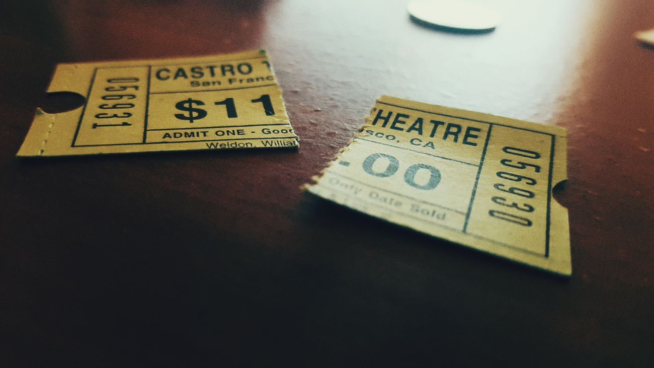 Ticket from the Theatre / Cinema for old james bond Movies ; rekindled my appreciation for the Charm of Vintage cinematography in San Francisco