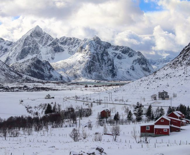 Driving the E10 in Lofoten Islands, Norway. Snow Winter Mountain Beauty In Nature Scenics Outdoors Mountain Range Nature Cold Temperature Tranquil Scene Cloud - Sky Landscape First Eyeem Photo