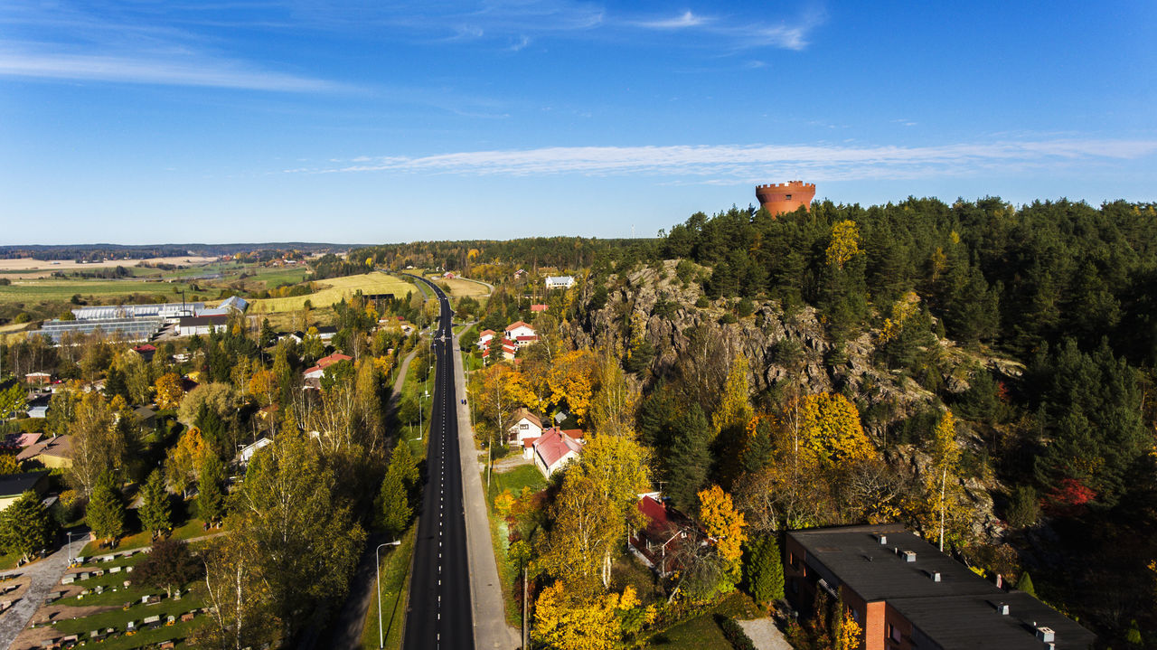 Aerial Photography Aerial View Autumn Day Empty Road Finland Hill Ilmakuva Mountain No People Salo Sky Small Tower Tower On The Hill Town Water Tower