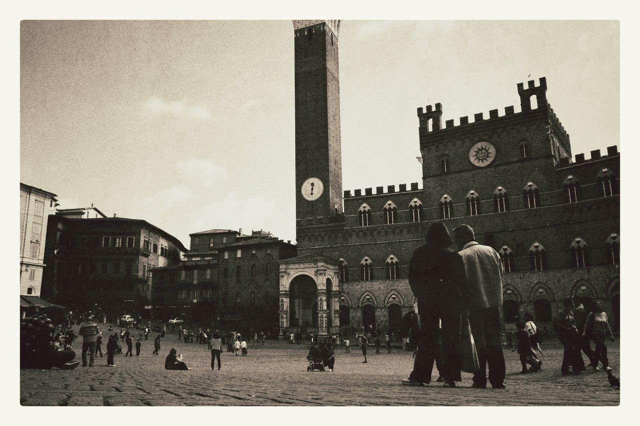 Vintage Siena Piazza Del Campo Tuscany Building Exterior Large Group Of People Architecture Built Structure Sky Travel Destinations Outdoors Real People Day City Men People Adults Only Adult Black And White Photography Black And White Blackandwhite