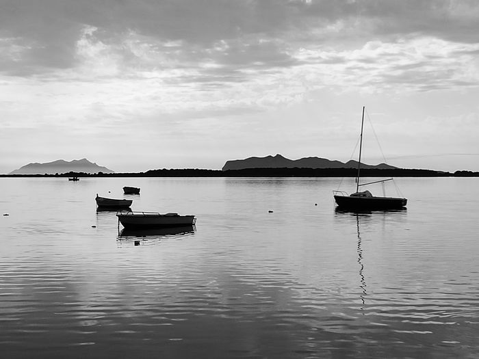 Tranquility Nautical Vessel Tranquil Scene Outdoors Day Travel Destinations Reflection Scenics Cloud - Sky Harbor Water Landscape Beauty In Nature No People Sea Nature Sky Blackandwhite Mare Marettimo Isl Favignana's Sea Looking At Camera Sunset Sun