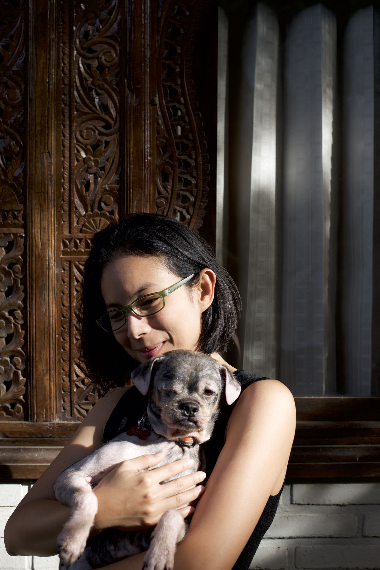 Asian Girl Bali Balinese Architecture Beautiful Woman Black Hair Brick Wall Copy Space Head And Shoulders Light And Shadow Moody Natural Light Portrait Place Of Heart Portrait Of A Woman The Portraitist - 2017 EyeEm Awards Waist Up White Wall Window Rescued Dog