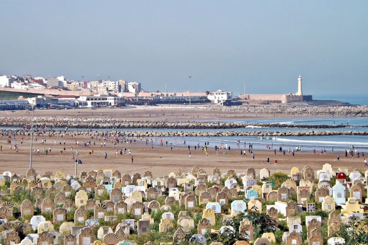 Architecture Beach Cimetière. Clear Sky Crowd Day La Cote Large Group Of People Maroc Mer Nature Outdoors People Plage Real People Sea Sky Sport Sportifs Sportives