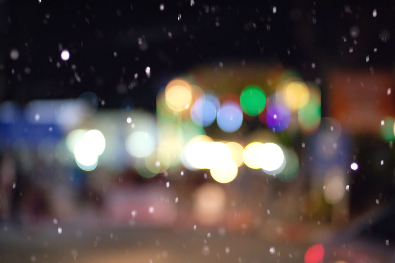 illuminated, night, focus on foreground, defocused, no people, outdoors, close-up, nature