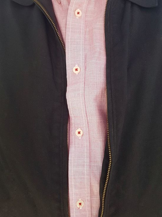 Dad Style ... Millennial Pink Button Down Shirt Buttons Red Accent Attention To Detail EyeEm Gallery Eye4photography  Mobile Photography Men's Fashion Part Of A Whole Layers | Textile Textured  Indoors  Full Frame Close-up No People Day |