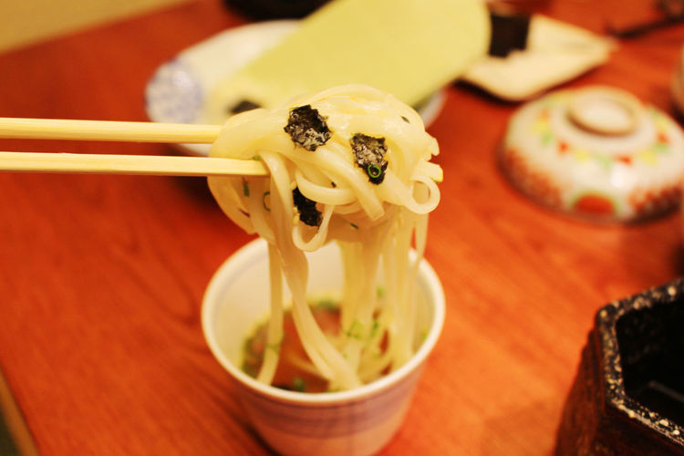 Chopsticks Close-up Cold Noodles Cultures Day Food Food And Drink Freshness Healthy Eating High Angle View Indoors  Japanese Cold Noodles Japanfood Mi Lanh No People Noodles Ready-to-eat Serving Size