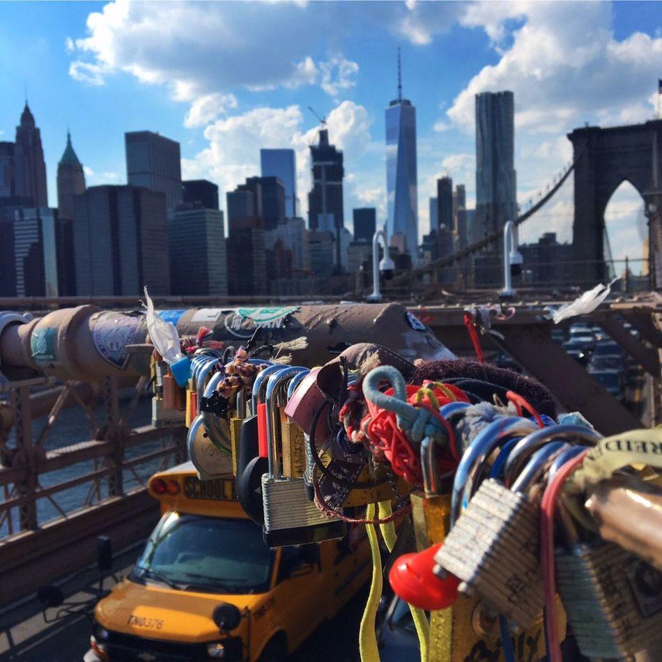 Love lock at the Brooklyn bridge City Skyscraper Sky Manhattan Adapted To The City Newyorkcity Oneworldtradecenter Love Locks Bridge