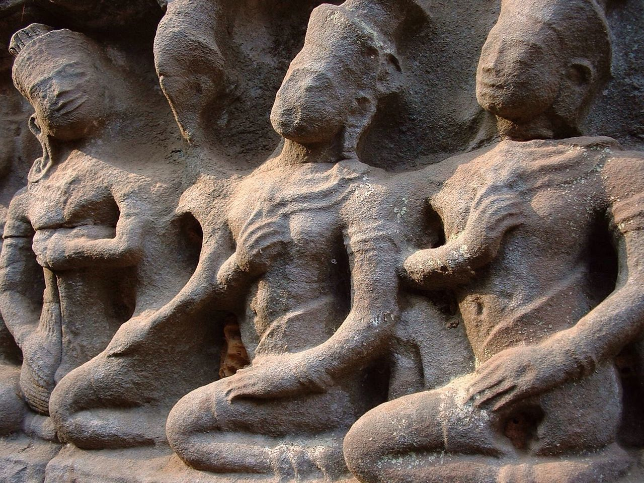 Close-Up Of Stone Sculptures At Temple
