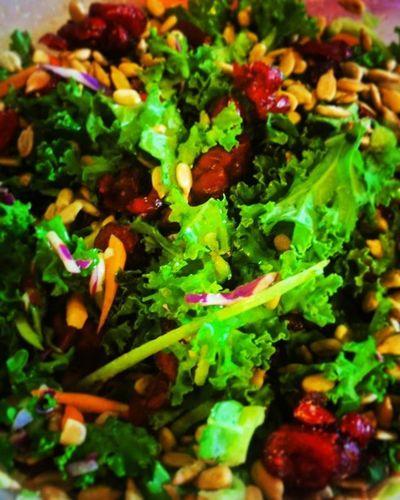 Salad Kale Carrots Citrusdressing Cranberries SesameSeeds Kaleyeah Ohsogood
