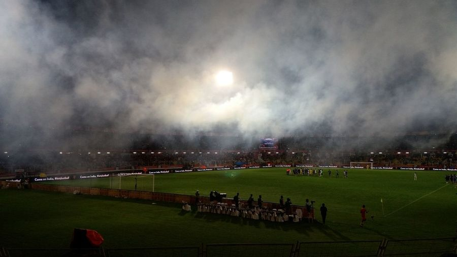 Football Stadium Night Playing Field Fan - Enthusiast Crowd People Stadium Soccer Field Crazyatmosphere Match - Sport Fireworks!