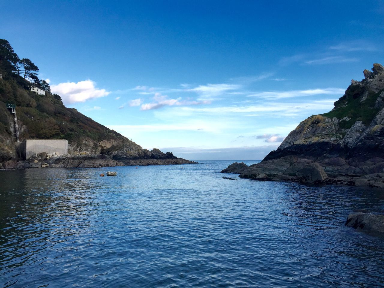 Blue Sky Blue Sea Idyllic Cornish Coast Cornish Village Harbour Cliffs Seaside October2015 Gazing Out To Sea