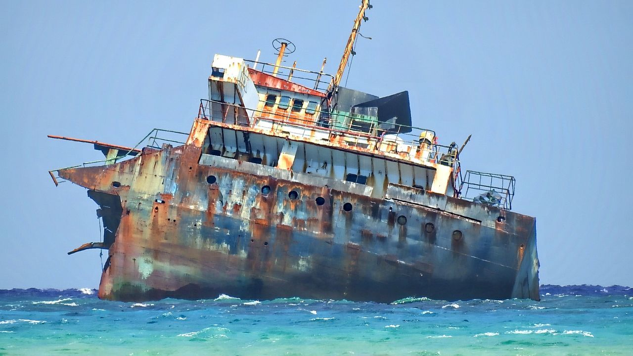 Abandoned Cargo Container Clear Sky Day Freight Transportation Nature Nautical Vessel No People Offshore Platform Oil Pump Outdoors Sailing Ship Sea Ship Shipping  Sky Sunken Transportation Water Waterfront