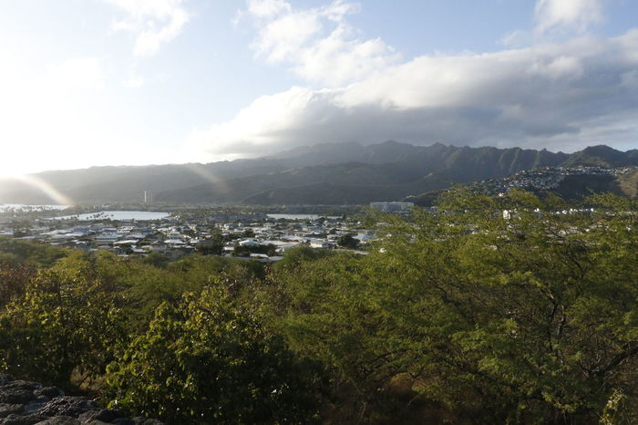 Beauty In Nature ColorPalette Cloudy Growth Hawaii Hill Honolulu  Landscape Mountain Mountain Range Nature No People Oahu Outdoors Plant Residential Building Residential District Scenics Sky Sunbeam Sunlight Town TOWNSCAPE Tranquil Scene Tranquility