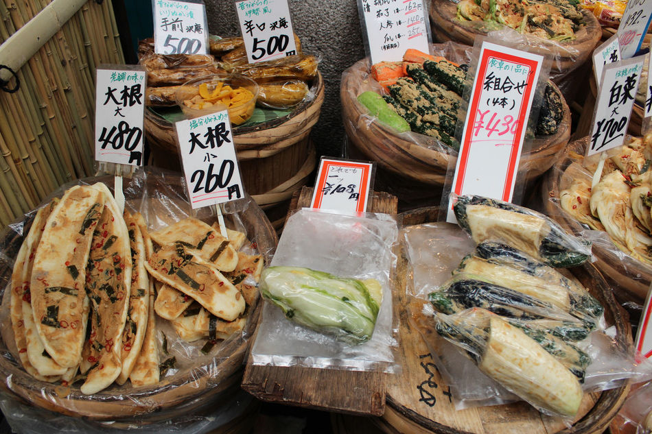 Traditional Japanese pickles on sale in the Kuromon Ichiba Market, Osaka, Japan Japanese Pickles Choice Cultures Day Food Food And Drink Freshness Indoors  Japanese Food Kuromon Ichiba Market Market Market Stall No People Osaka, Japan Price Tag Savory Food Tradition Traditional Culture Travel Variation Vegetables