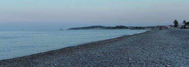 Beach Blue Blue Sky Calm Frenchriviera Grey Horizon Over Water Landscape Nightfall No People Sea Shingles Sunset Tranquil Scene