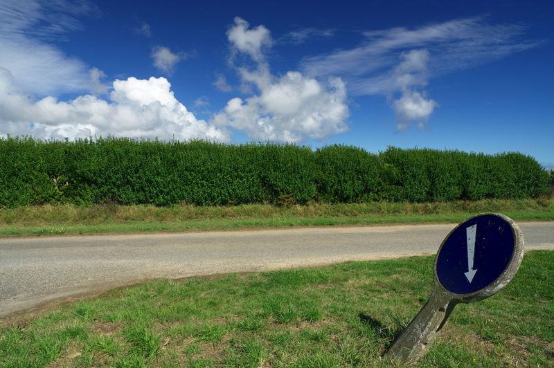 Roadsign Cloud - Sky Grass No People Rural Scene Landscape