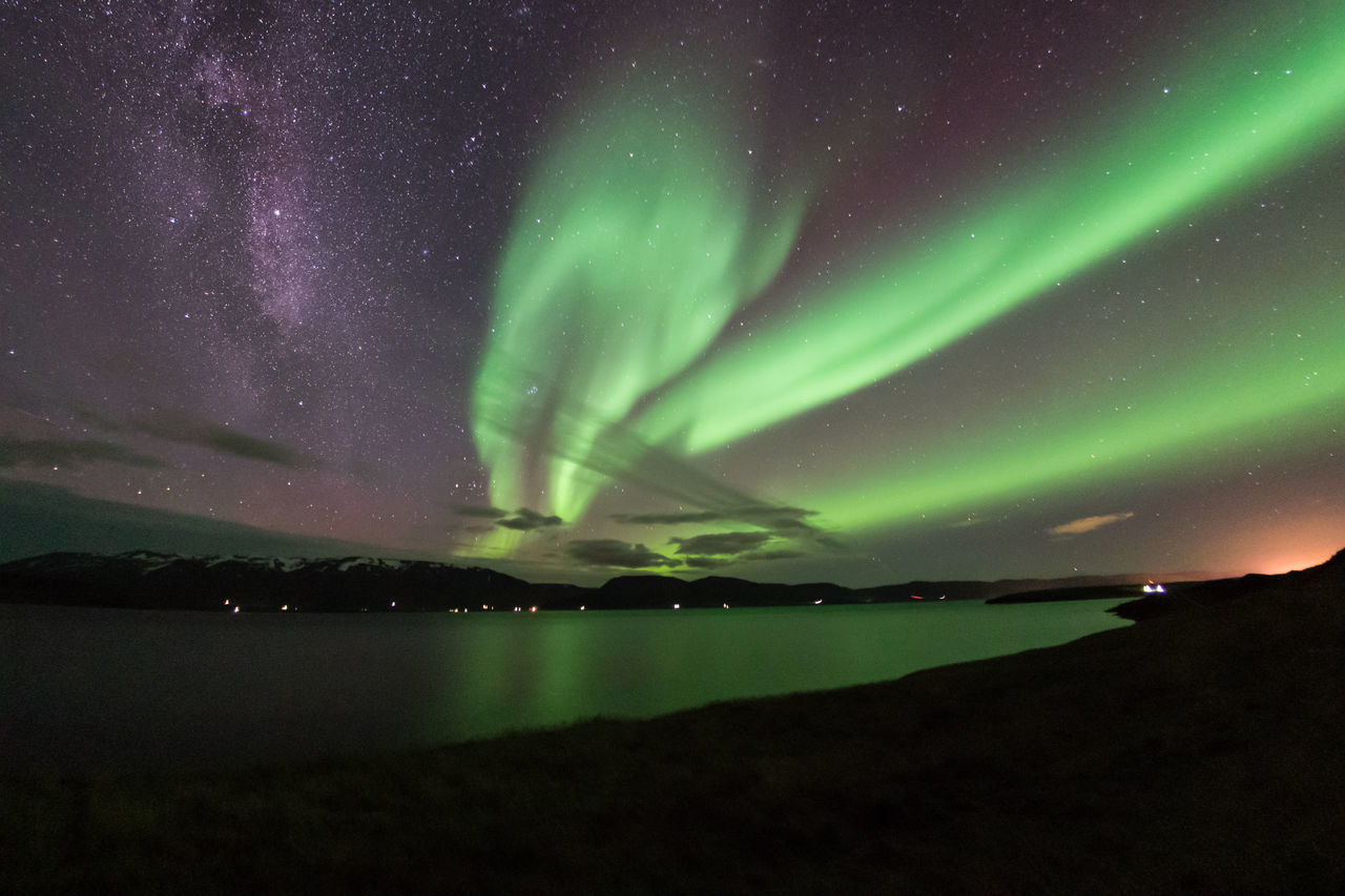 Northern Lights and Milkyway Astronomy Aurora Aurora Borealis Aurora Polaris Beauty In Nature Fjord Glacier Green Color Iceland Landscape Milky Way Milkyway Milkywaygalaxy Night North Iceland Northern Lights Reflection Sky Space And Astronomy Star - Space Stars Water