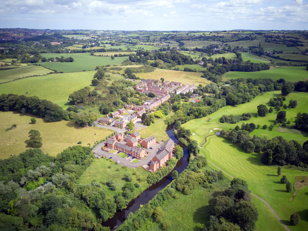 River Lagan Aerial View Agriculture Beauty In Nature Day Edenderry Field Giant's Ring Green Color High Angle View Lagan Landscape Nature No People Outdoors Patchwork Landscape Rural Scene Scenics Sky Tranquil Scene Tranquility Tree