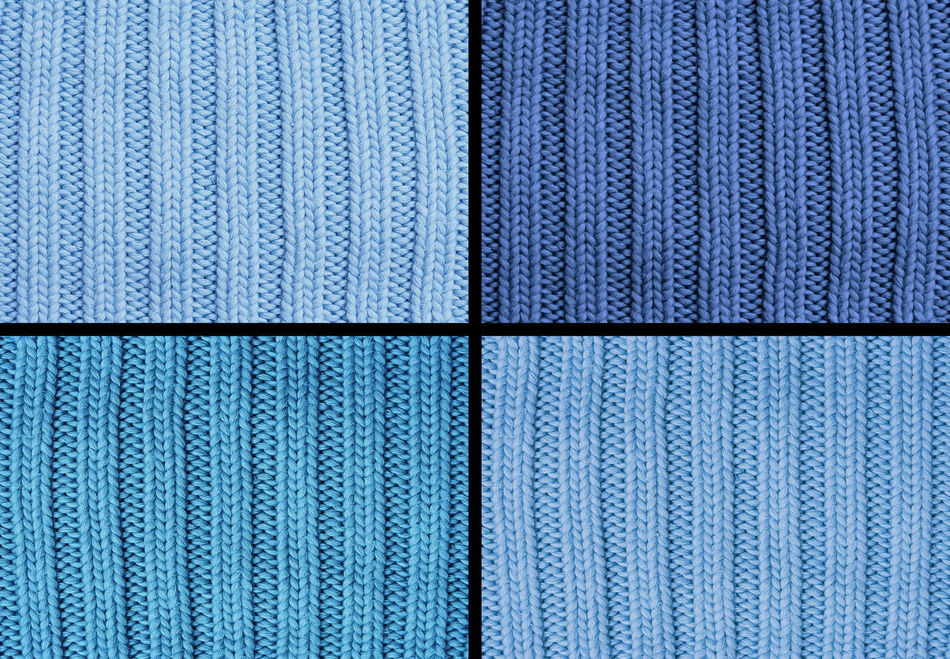 Composing of four woolen patterns - knitting pattern with purls and knits Background Backgrounds Blue Close-up Composing Concept Conceptual Cotton Four Full Frame Knit Knitted  Knitting No People Pattern Quarter  Relief Shades Of Blue Textile Textile Industry Textured  Textured  Textures And Surfaces Wool Woolen