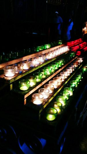 Candles Close-up Illuminated Group Of Objects Dark In A Row Night No People Church Red Green White