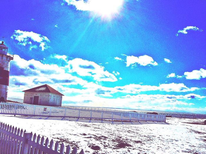 Stratford Point Stratford Point Lighthouse Lighthouse_lovers Lighthouse Stratford Stratfordct Stratford CT Connecticut New England  Taking Photos Blue Sky Blue Sky And Clouds Outside Outdoors Cold As Hell Freezing Cold Asf Iphonephotography IPhoneography View Coastline White Snow Snow Sunshine Sunny