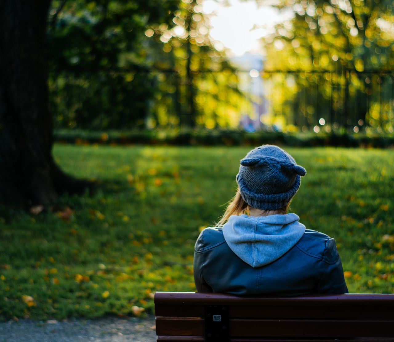 Rear View Sitting Tree Bench One Person Loneliness Autumn Nature Relaxation Outdoors People Landscape Grass Day Adult