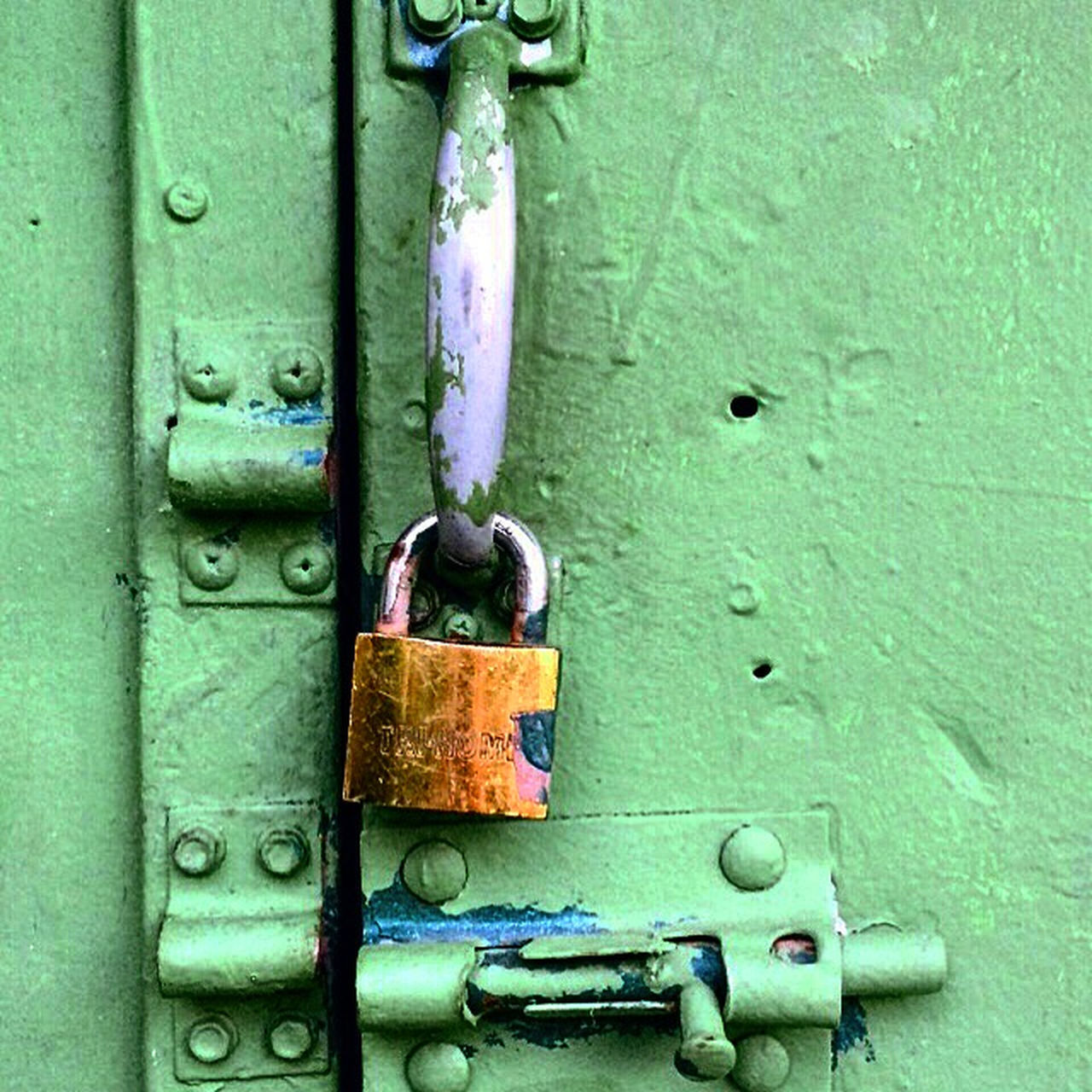 metal, padlock, security, door, lock, protection, safety, closed, close-up, outdoors, no people, day, chain, green color, rusty, latch, love lock
