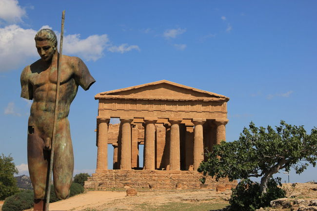 Architecture Built Structure Spirituality Religion Building Exterior Famous Place Place Of Worship Tree Sky History Statue Blue Travel Destinations Architectural Column The Past Temple - Building Tourism Outdoors Day Italy Siciliy Agrigento
