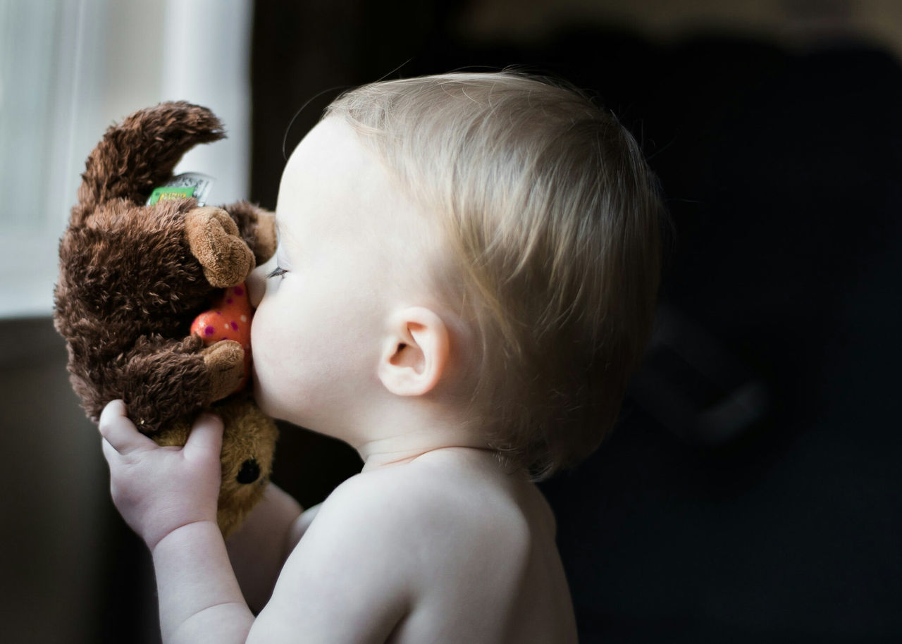Childhood Baby Teddy Bear Close-up Babyhood Human Body Part Togetherness Indoors  People Happiness Bonding Love Children Only Real People One Person Child One Boy Only Side View Fresh On Market 2017