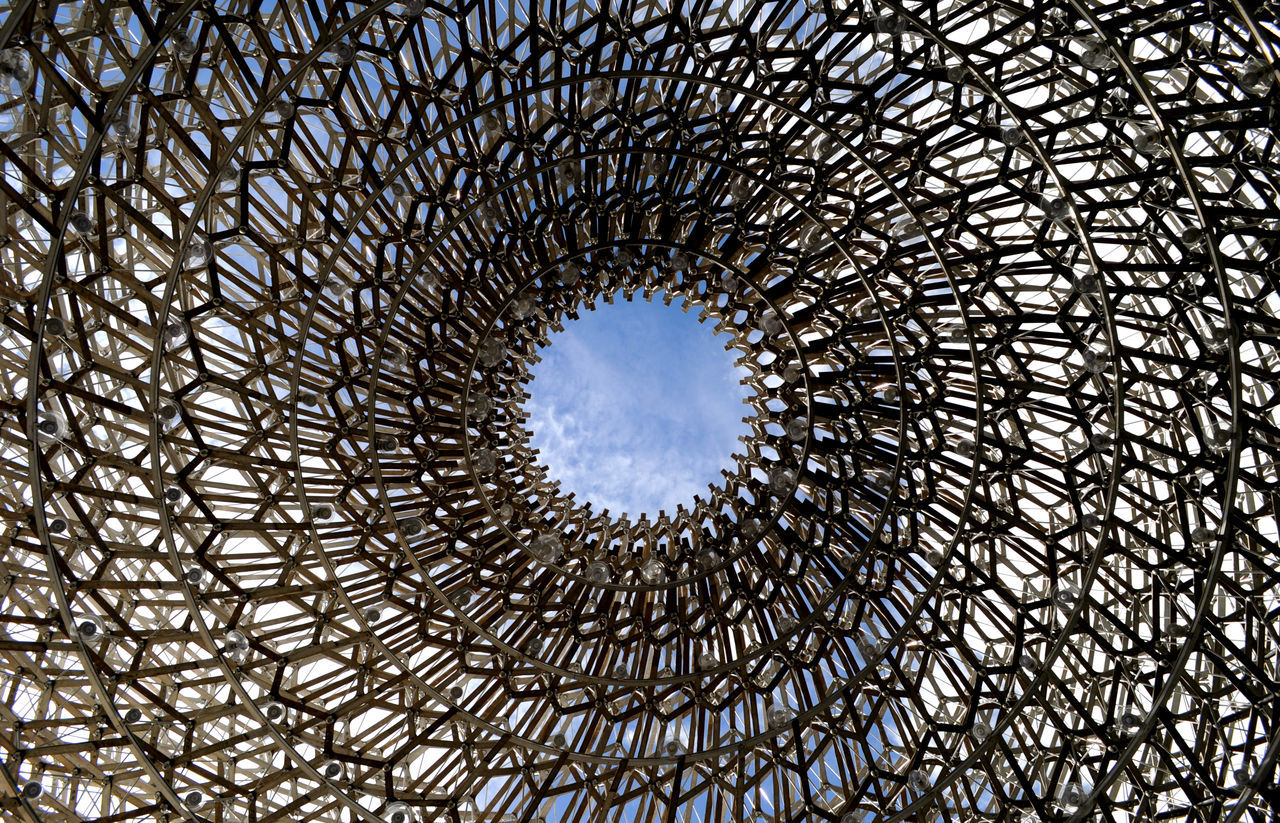 Architectural Feature Architecture Architecture And Art Built Structure Circle Cloud - Sky Concentric Creativity Day Directly Below Geometric Shape Kew Gardens, London Low Angle View Modern No People Sky Structure The Hive Structures And Architecture Circles Lookingup Beautifully Organized