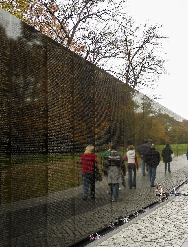 Reflection of tourists Architecture Brick Wall Landmark Marble Reflection Sightseeing The Tourist Tourism Tourists Traveling USA Vietnam Wall Washington Veterans Memorial