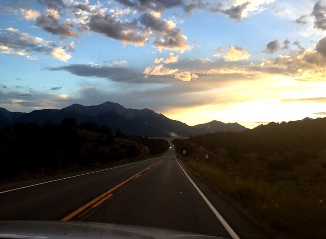 road, the way forward, transportation, mountain, sky, sunset, no people, nature, mountain range, landscape, journey, scenics, cloud - sky, outdoors, beauty in nature, day