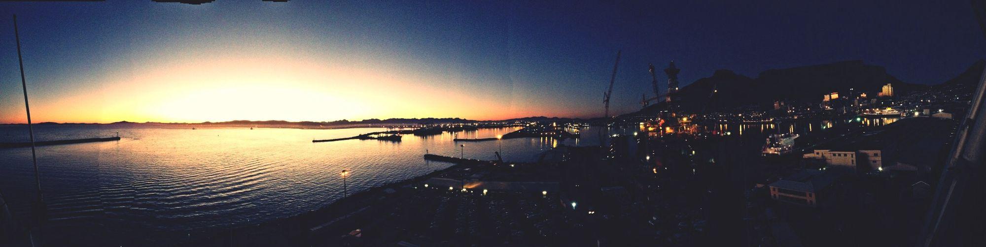 Morning Sunrise city skyline meets the sea