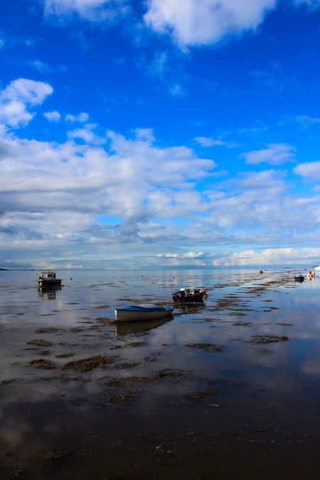 Beach Boat Cloud And Sky Coastline Day High Tide Moored Nature Nautical Vessel No People Outdoors Reflection Reflection_collection Reflections In The Water River Dee  Sailing Boat Sea Ship Sky Water Wirral Wirral Peninsula