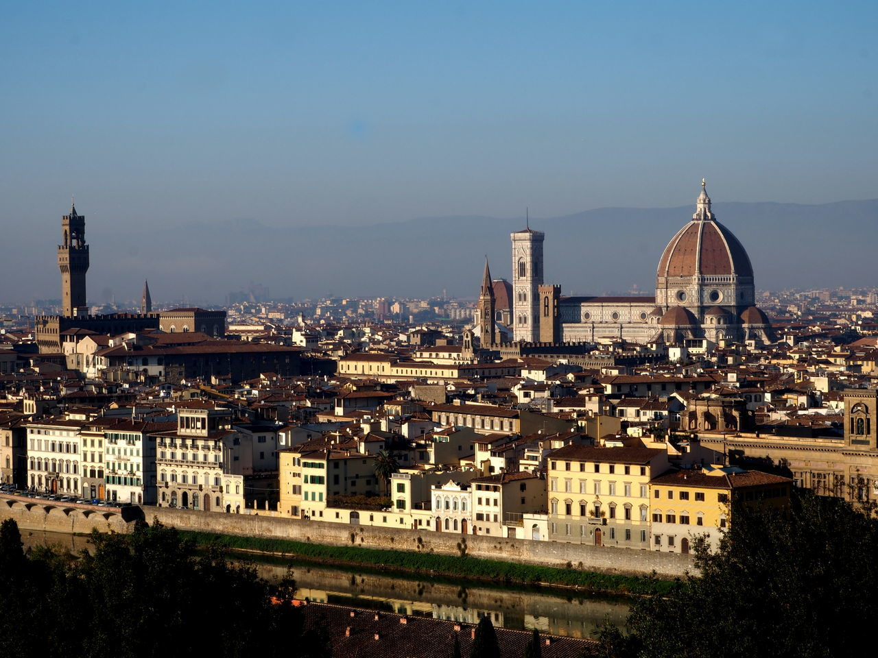 panorama of Florence, Pitti Palace and the cathedral of florence Architecture Basilic Bridge Buildings Cathedral City Florence Holy Cross Italy Italy4fun No People Outdoors Picoftheday Pitti Pitti Palace Santa Croce Seagulls Sky Sky And Clouds The Medici Family Tuscany Uffizi Uffizi Gallery Vasari Corridor Water