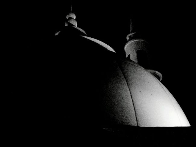Dome and minaret's peak of Masjid Al Fattah Jatinegara Jakarta Bnw Lowlight Rooftop View  Mosque Place Of Worship Religionspirituality Fine Art Photography